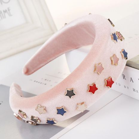 New solid color alloy velvet five-pointed star sponge headband NHHV139933's discount tags