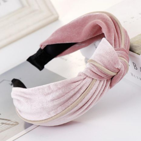 New solid color alloy velvet knotted wide headband NHHV139941's discount tags