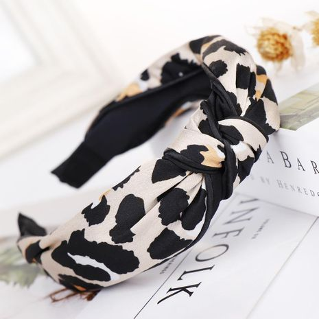 Fashion leopard print wide headband NHHV139944's discount tags