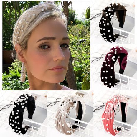 Fashion multi-color velvet beads sponge wide headband NHHV139948's discount tags