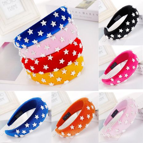 Fashion multicolor star sponge wide headband NHHV139951's discount tags