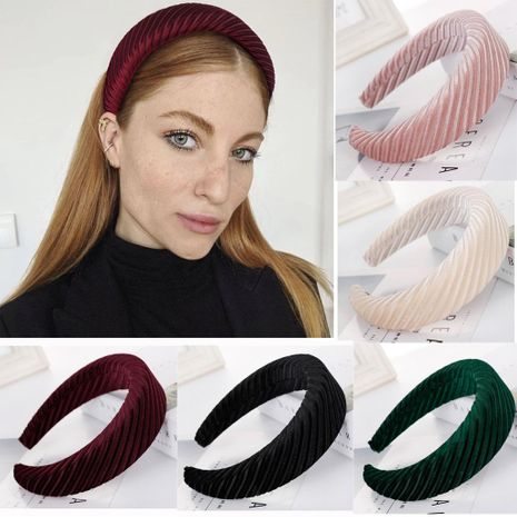 New flannel solid color horizontal stripes sponge wide headband NHHV139953's discount tags