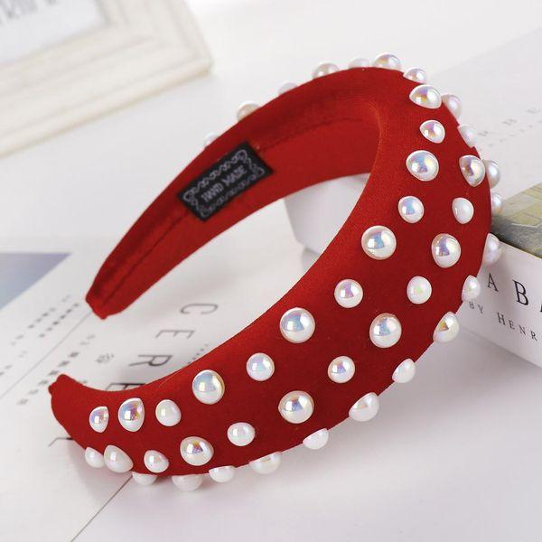 Fashion multi-color velvet beads sponge wide headband NHHV139954