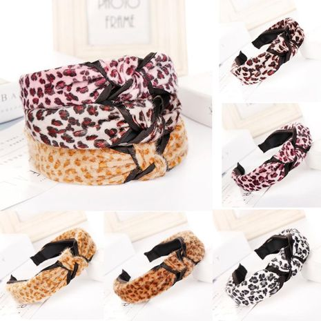 Cute leopard wave point wide headband multicolor NHHV139965's discount tags