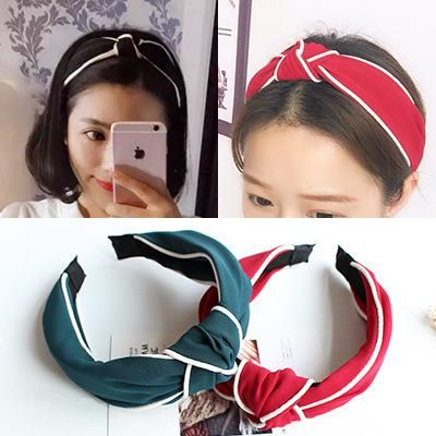 Fashion solid color cross wide side headband hair band multicolor NHOF139974's discount tags