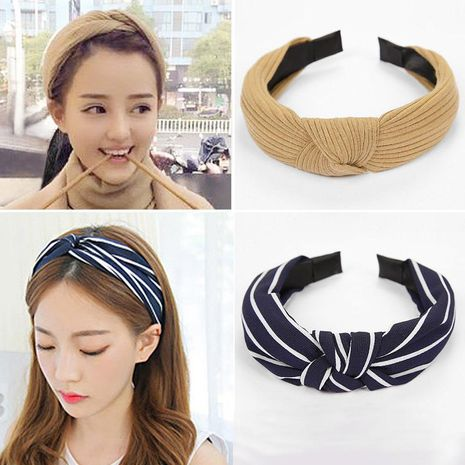 Fashion knit middle knot wide-brimmed headband multicolor NHOF139978's discount tags