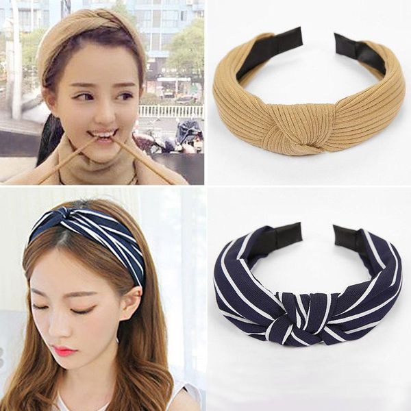 Fashion knit middle knot wide-brimmed headband multicolor NHOF139978