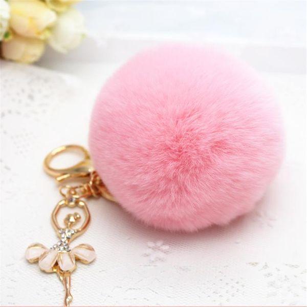 Cute rhinestone little angel hairy ball key chain bag chain NHHV139980