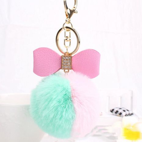 Colored rhinestone bow ball key chain bag chain NHHV139981's discount tags