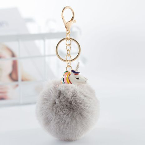 Cute unicorn colored hair ball key chain bag chain multicolored NHHV139992's discount tags