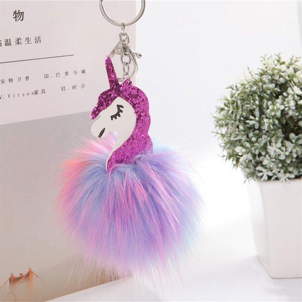 Cute unicorn colored hair ball key chain bag chain NHHV139994