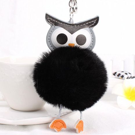 Cute owl hair ball key chain bag chain multicolored NHHV139995's discount tags