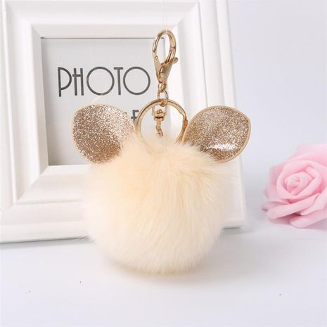 Cute rabbit ears hair ball key chain bag chain multicolored NHHV139998's discount tags
