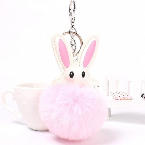 Cute rabbit hair ball key chain bag chain multicolored NHHV139999's discount tags