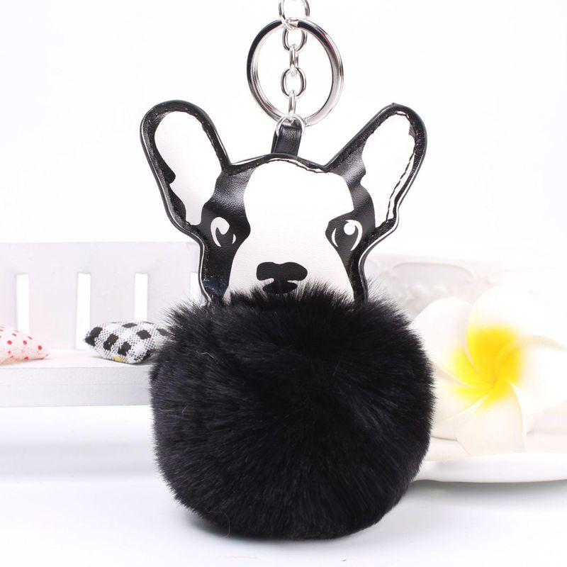 Cartoon puppy hair ball key chain bag chain multicolored NHHV140000