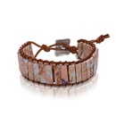 Colored emperor stone handwoven leather bracelet NHJQ139882