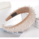 Fashion multicolor velvet bead sponge wide headband NHHV139950