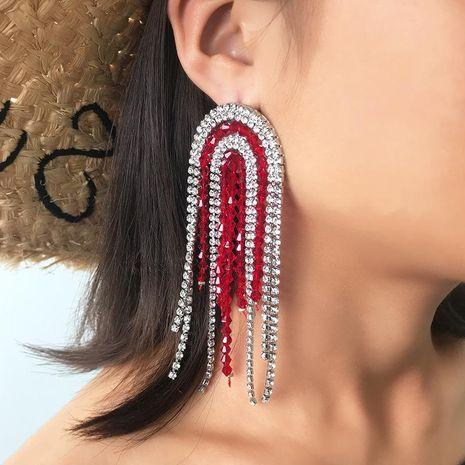 Boucles d'oreilles strass à franges simple mode NHNZ140027's discount tags
