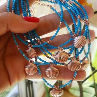 Bohemian colored beaded alloy shell turquoise stone anklet bracelet NHGY140040's discount tags