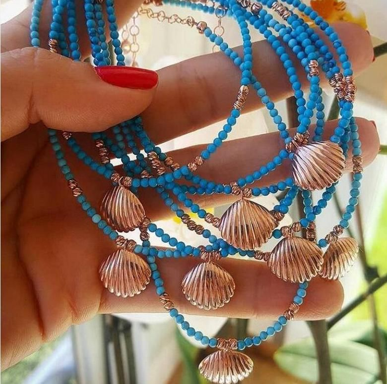 Bohemian colored beaded alloy shell turquoise stone anklet bracelet NHGY140040