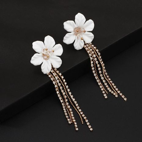 Boucles d'oreilles strass fleur européenne et américaine à franges longues NHNZ140052's discount tags