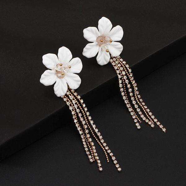European and American long fringed flower rhinestone earrings NHNZ140052