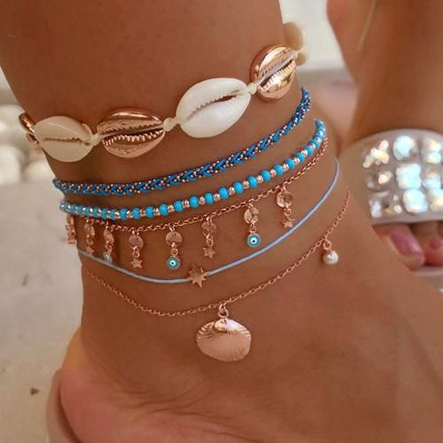 Fashion Heart Shaped Eyes Beads Woven Shell Multilayer Alloy Anklet Bracelet NHGY140053