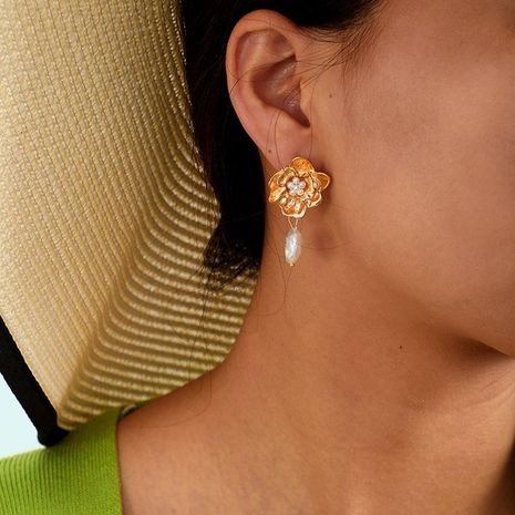 Fashion Beads Flower Alloy Earrings NHGY140055's discount tags
