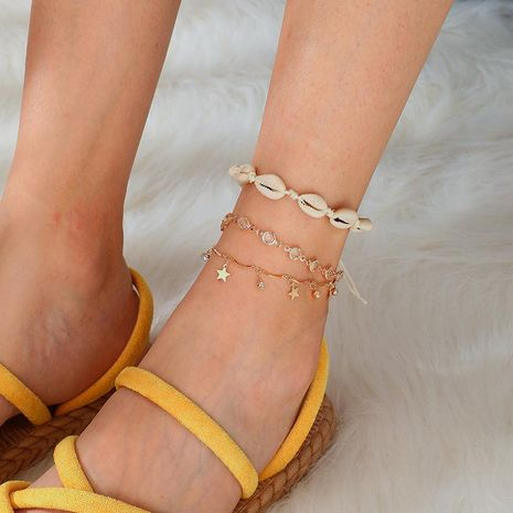 Bohemian rhinestone-studded alloy star woven shell multi-layer anklet bracelet NHGY140064's discount tags