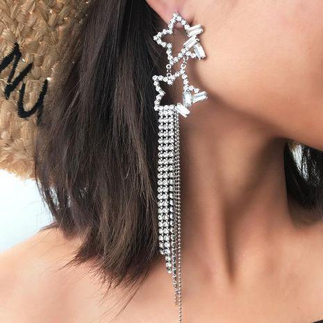 Boucles d'oreilles pompon étoiles à strass long tempérament élégant NHNZ140066's discount tags