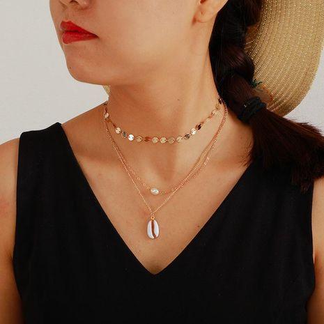 Collier simple multicouche NHGY140071 de coquille de perles d'alliage de mode de coquille de mode's discount tags