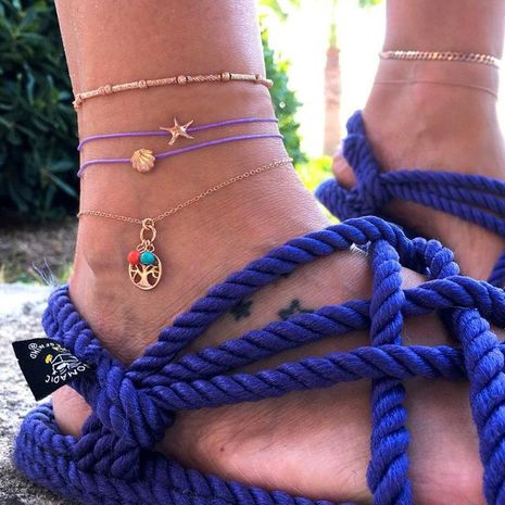 Fashion line rope starfish life tree alloy shell 4 piece set anklet bracelet NHGY140072's discount tags