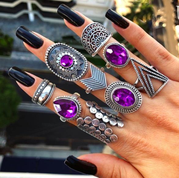 Retro Fan Shaped Water Drop Rhinestone Gems Geometry Triangle 9 Piece Ring Set NHGY140097