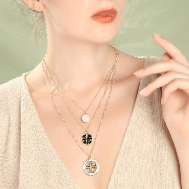 Womens geometric rhinestone alloy Necklaces NHQD140133