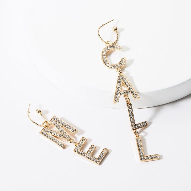 Fashion Letter CALL ME Acrylic Rhinestone Earrings NHJE140142