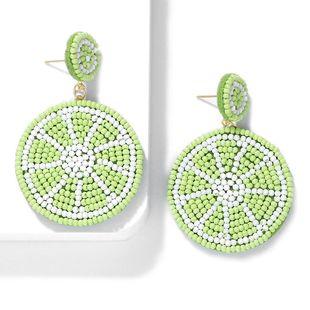 Womens Handmade Watermelon Rice Beads Earrings NHJQ140171's discount tags