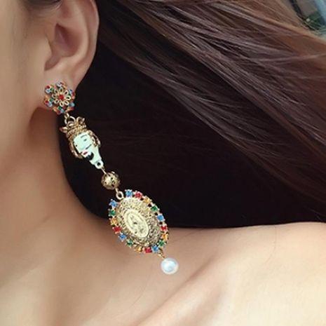 Vintage color rhinestone old man earrings NHNT140207's discount tags