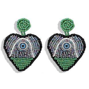 Fashion creative model rice beads devil's eye rice beads earrings NHJQ140217's discount tags