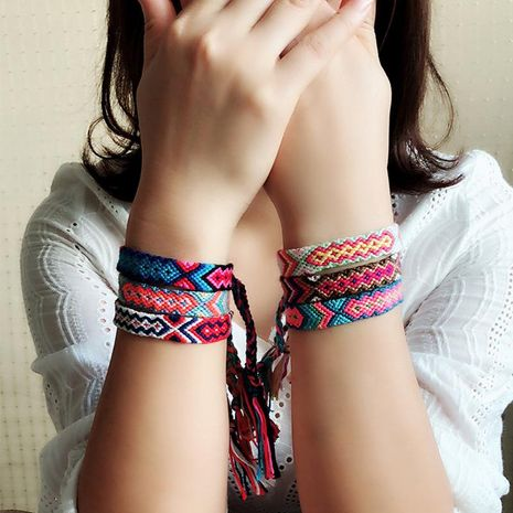 Fashion color cotton woven fabric bracelet NHJQ140246's discount tags