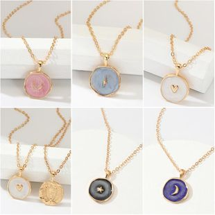 Fashion Drops Stars Moon Alloy Necklace NHNZ140255's discount tags