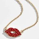 Fashion full rhinestone imitated crystal lip necklace NHOT140034