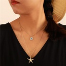 Bohemian alloy geometrically rounded turquoise multilayer necklace NHGY140058