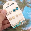 Fashion Rhinestone Alloy Turquoise Beads Flower 6 Pairs Stud Earrings Set NHGY140073