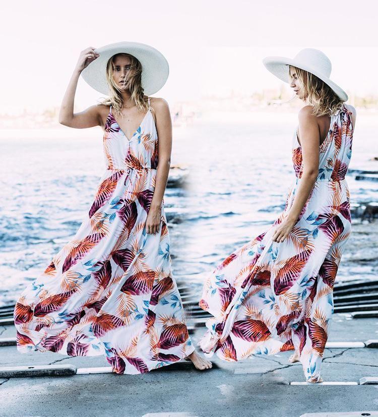 Leaf Print Sling Beach Jacket Holiday Dress NHXW140275
