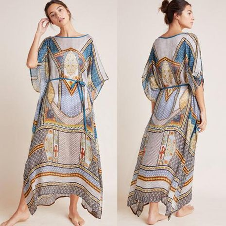 Chiffon positioning flower loose large size beach dress long skirt NHXW140280's discount tags