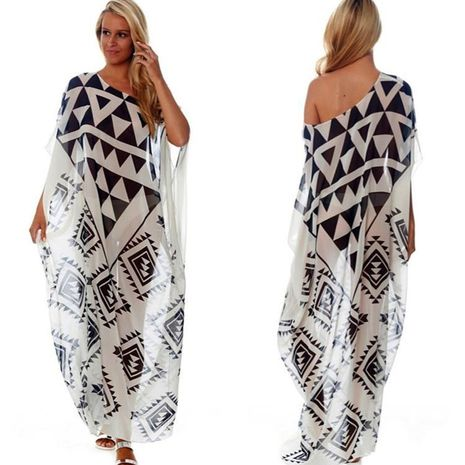 Chiffon black and white triangle positioning printed beach skirt NHXW140285's discount tags