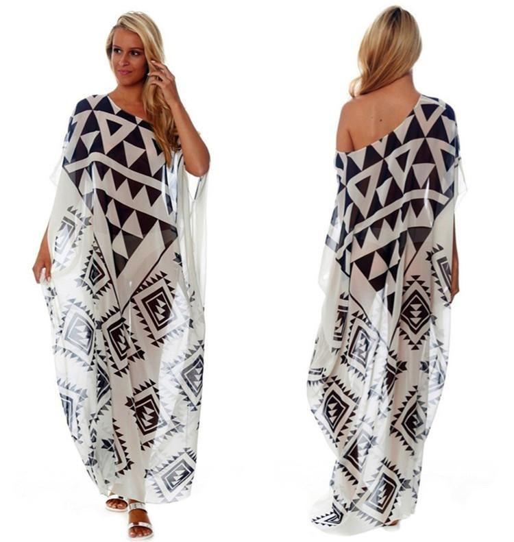 Chiffon black and white triangle positioning printed beach skirt NHXW140285