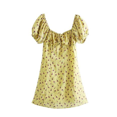 French yellow bottom floral elastic drawstring square collar dress NHAM140322's discount tags