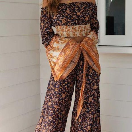 Autumn cotton printed wide-leg pants NHAM140330's discount tags