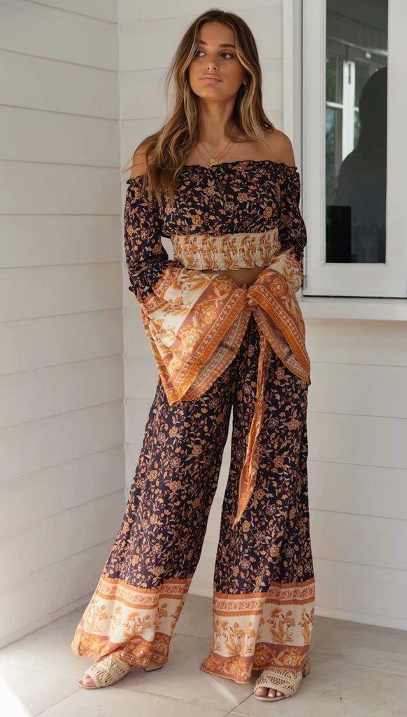 Autumn cotton printed wide-leg pants NHAM140330